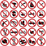 Restriction sign set Stock Photos