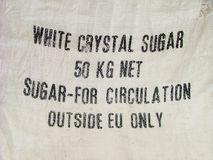Restriction warning on the sugar bag. For outside EU Stock Images