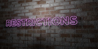 RESTRICTIONS - Glowing Neon Sign on stonework wall - 3D rendered royalty free stock illustration Stock Photography