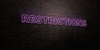 RESTRICTIONS -Realistic Neon Sign on Brick Wall background - 3D rendered royalty free stock image Stock Image