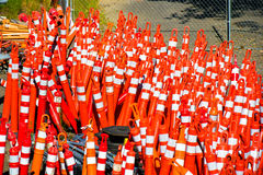 Restrictive bollards for road works application pending Stock Images