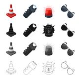 Restrictive cone, electric shock, police flasher, sunglasses. Police set collection icons in cartoon black monochrome Royalty Free Stock Photo