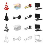 Restrictive striped cone, bridge, city architecture, pencil and roulette, computer. Architecture set collection icons in Stock Photography