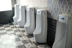 Restroom. Row of toilets in a man restroom royalty free stock images