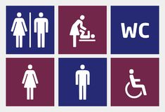 Restroom icons set Royalty Free Stock Photo