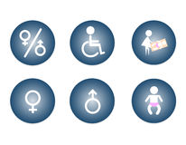 Restroom Male, Female, Baby Changing Sign, Handicap Sign Stock Images