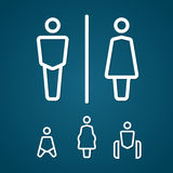 Restroom male female pregnant cripple and baby sign outline stroke Royalty Free Stock Images