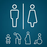 Restroom male female pregnant cripple oldster and baby sign outline stroke Stock Image
