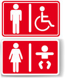 Restroom men women baby handicapped Stock Photography