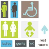 Restroom pictogram signs Stock Images