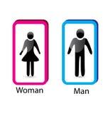 Restroom sign Man & Woman icon logo. Vector design Stock Photos