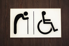 Restroom sign. The Sign of public restroom for handicapped and old age gentlemen Stock Photo