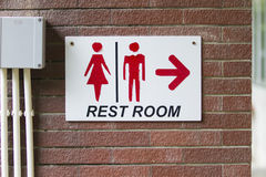 Restroom sign on the wall. Symbol toilet Stock Photography
