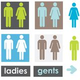 Restroom signs. A set of restroom signs in alternative colours Royalty Free Stock Photography