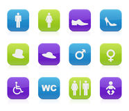 Restroom signs. Twelve detailed restroom signs on white background Stock Photography