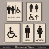 Restroom signs collection on a grey background. Restroom signs collection  illustration Stock Photography