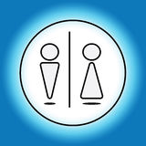 Restroom signs for men and women. Blue label toilet Stock Photos
