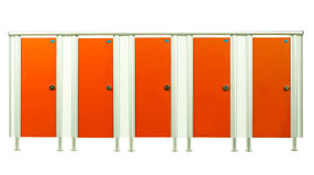 Restroom stall doors in the gyms room isolated on white background Stock Photography