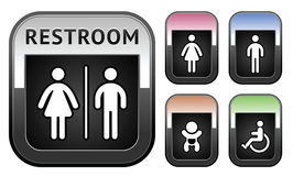 Restroom symbol, metallic button Stock Photos