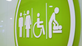 Restroom and Toilet Access Sign. stock video footage