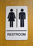 Restroom (toilet) sign on wooden surface, Stock Images