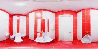 Restroom with toilet and washbasin. Panorama inside privy 360 degrees in equidistant projection with red tiles on the floor and red white tiles on the walls Stock Photography