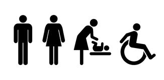 Restroom universal set of signs. Lavatory signs, toilet symbol signs, wc icons Royalty Free Stock Images
