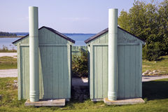 Restrooms by the beach Stock Photos