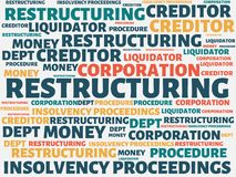 RESTRUCTURING - image with words associated with the topic INSOLVENCY, word, image, illustration. RESTRUCTURING - image with words associated with the topic Royalty Free Stock Image