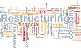 Restructuring word cloud. Word cloud concept illustration of company restructuring Stock Photos