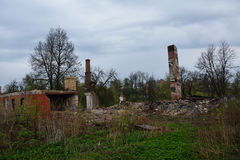 Rests of the burned houses Royalty Free Stock Photo