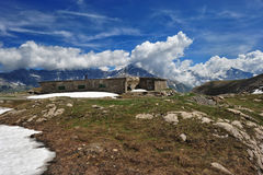 Rests of military barracks in mountain over the col du Mont Ceni Royalty Free Stock Photography