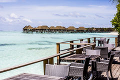 Restaurant deck at resort, Maldives Royalty Free Stock Images