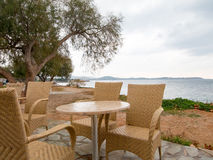 Restuarant by the Mediterranean Sea Stock Photography
