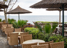 Restuarant by the Mediterranean Sea Stock Images