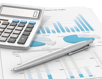 Result. Pen and Calculator on a paper with graph and charts. Blue Theme color Royalty Free Stock Images