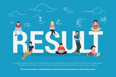 Result achievement concept vector illustration of business people. Using devices for working, project development and growth. Flat concept of professionals Stock Photos