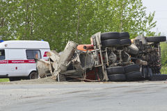 The result of a collision between two trucks Stock Photography