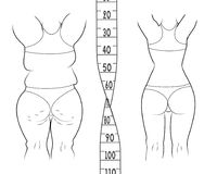 The result before and after a diet. Fat and slim woman. Measuring tape vector illustration Royalty Free Stock Image