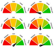 Result evaluation. Evaluating result into different colorful categories Stock Photo