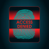 The result of the fingerprint scan access denied. The access control system, security, data protection Royalty Free Stock Photography