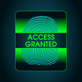 The result of the fingerprint scan access is granted. The access control system, security, data protection Stock Photos