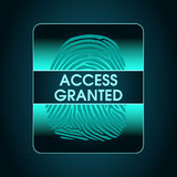 Result of the fingerprint scan access is granted. The access control system, security, data protection, access Stock Photography