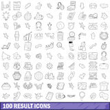 100 result icons set, outline style Stock Photos
