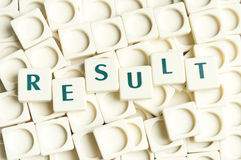 Result word made by leter pieces Stock Photo