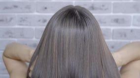 Resultado após a laminação e o cabelo que endireitam em um salão de beleza para uma menina com cabelo marrom Conceito dos cuidado video estoque