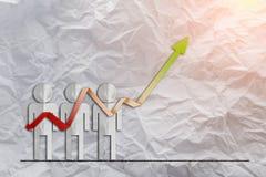 Resultado de la demostración del informe del análisis de venta de las cartas del éxito del crecimiento y de GR foto de archivo