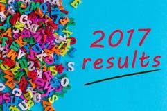 2017 resultados Comentario del año Nota en la superficie azul cerca de muchas pequeñas letras de madera Foto de archivo libre de regalías