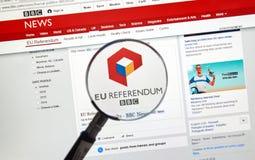 Resultados de Brexit en sitio de la BBC imagenes de archivo