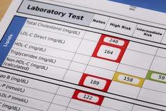Resultados de la prueba de alto riesgo del colesterol imagen de archivo libre de regalías